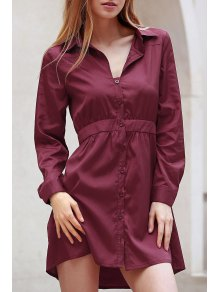 Wine Red Turn Down Collar Long Sleeve Dress - Wine Red S