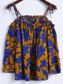 Floral Print Cami 3/4 Sleeve T-Shirt - Earthy L