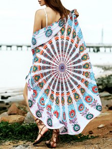 Convertible Round Shape Print Cover Up