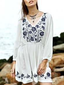 Embroidery Plunging Neck Flare Sleeve Dress