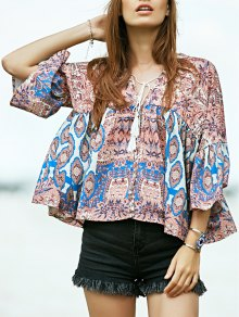 Loose Printed Plunging Neck Flare Sleeve Blouse