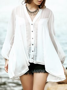 High Low Hem V-Neck Long Sleeve Shirt