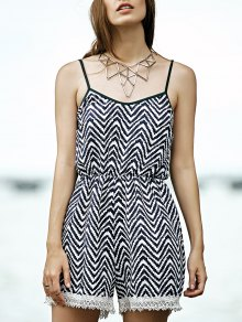 Lace Splice Cami Stripe Romper