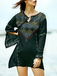 Embroidered Check Blouse