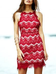 Red Lace Bretelles Spaghetti Robe - Rouge