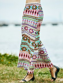 Geometric Print High Waist A-Line Skirt