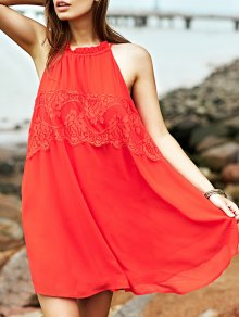 Lace Splice Round Collar Sleeveless Dress