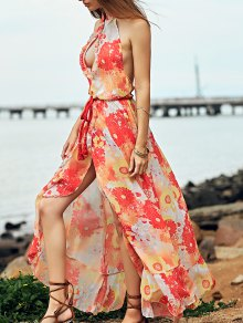 Printed Backless Stand Neck Long Dress