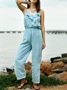 Ruffles Cami Light Blue Denim Jumpsuit - Light Blue M