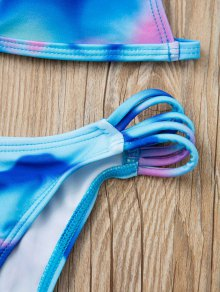 Spaghetti Strap Tie Dye Print Bikini Set - PURPLE S