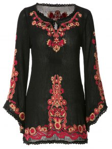 Floral Embroidery Lace Splicing Long Sleeve Dress