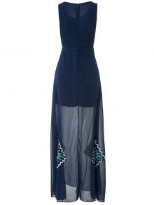 Floral Print Color Block Sleeveless Maxi Dress - PURPLISH BLUE S