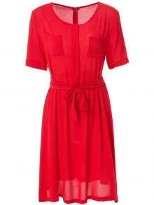 Solid Color Elastic Waist Belt Short Sleeve Dress - Red S