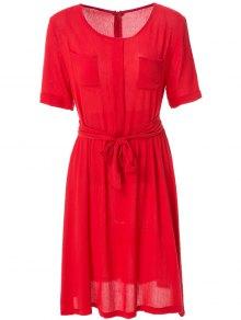 Solid Color Elastic Waist Belt Short Sleeve Dress - Red M