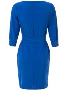 Solid Color Half Sleeve Midi Dress - SAPPHIRE BLUE M