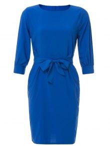 Solid Color Half Sleeve Midi Dress