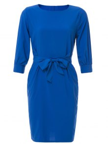 Boat Neck Sheath Dress With Belt - Sapphire Blue L