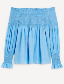 Off The Shoulder Blue Chiffon Long Sleeve Blouse