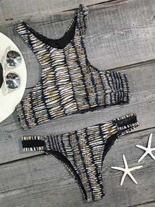 Printed High Neck Voile Spliced Bikini Set