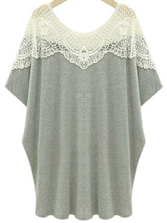 women Cut Out Lace Spliced Round Neck Short Sleeve T-Shirt - LIGHT GRAY 4XL