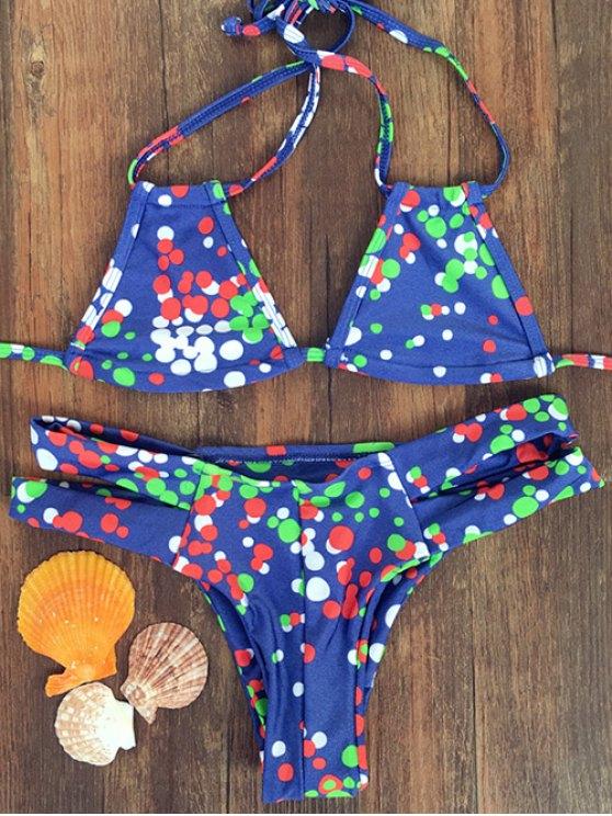 Polka Dot Colorful Halter Bikini Set - Bleu L