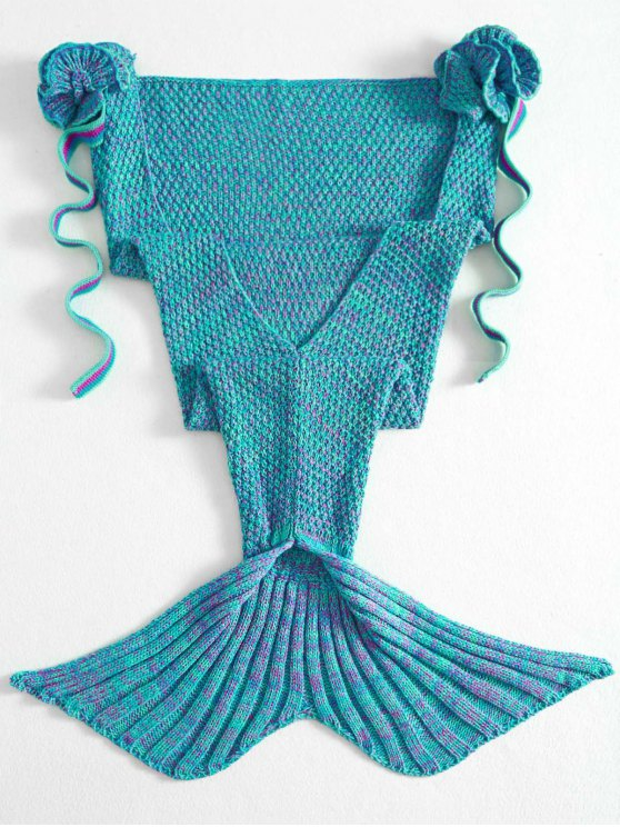 fashion Knitted Floral Mermaid Tail Blanket - GREEN