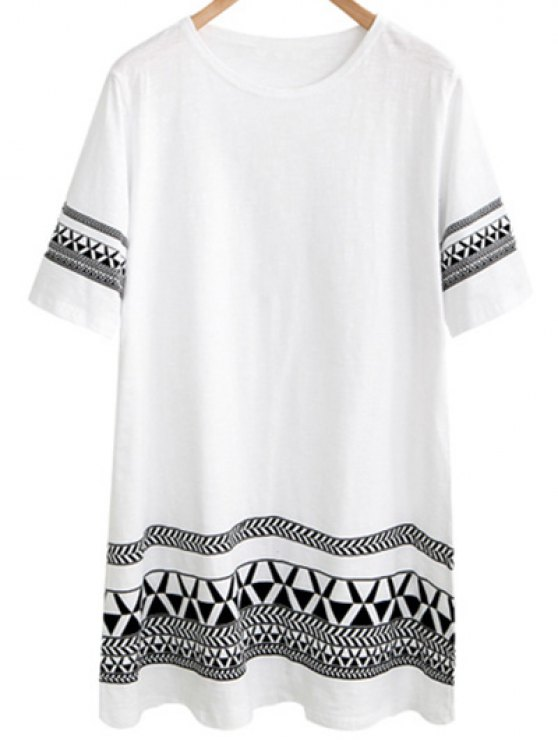 shop Loose Geometric Print Round Neck Short Sleeve Dress - WHITE 2XL
