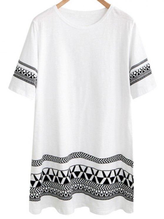 hot Loose Geometric Print Round Neck Short Sleeve Dress - WHITE 5XL