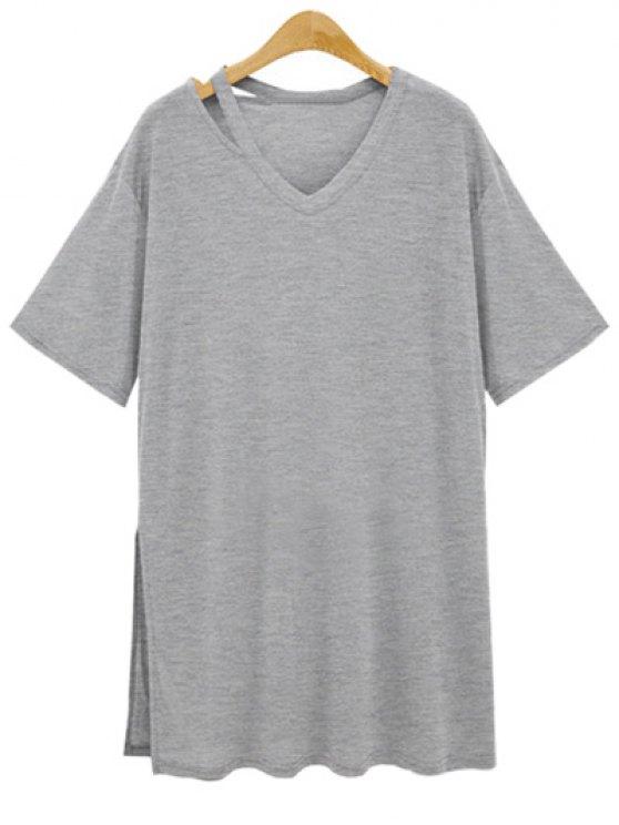 unique Loose Side Slit V Neck Short Sleeve T-Shirt - GRAY M