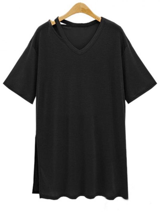 womens Loose Side Slit V Neck Short Sleeve T-Shirt - BLACK L