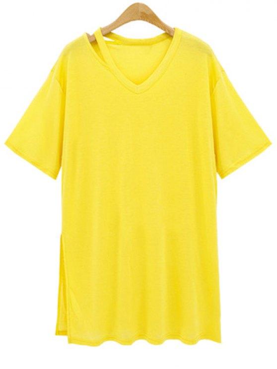 ladies Loose Side Slit V Neck Short Sleeve T-Shirt - YELLOW 2XL