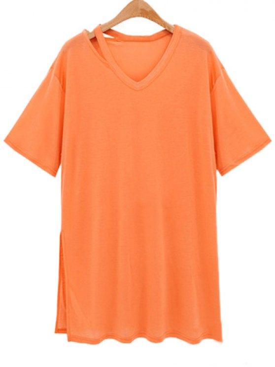 outfit Loose Side Slit V Neck Short Sleeve T-Shirt - ORANGEPINK XL