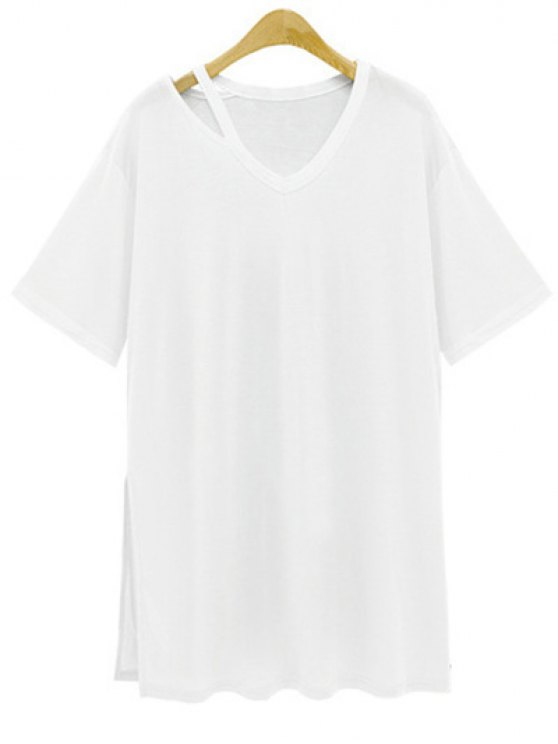 trendy Loose Side Slit V Neck Short Sleeve T-Shirt - WHITE XL