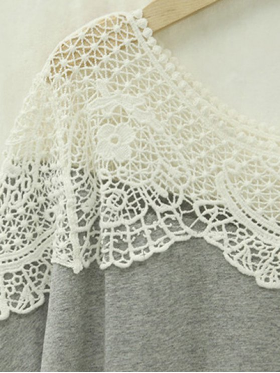 Cut Out Lace Spliced Round Neck Short Sleeve T-Shirt - LIGHT GRAY 5XL Mobile