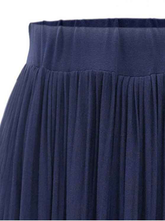 Pure Color High Waist Pleated Skirt - BLACK ONE SIZE(FIT SIZE XS TO M) Mobile
