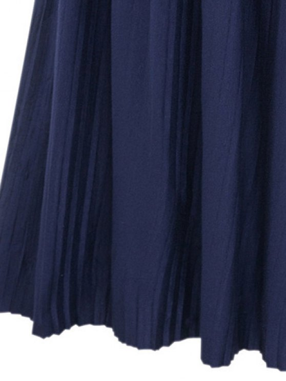 Pure Color High Waist Pleated Skirt - DEEP BLUE ONE SIZE(FIT SIZE XS TO M) Mobile