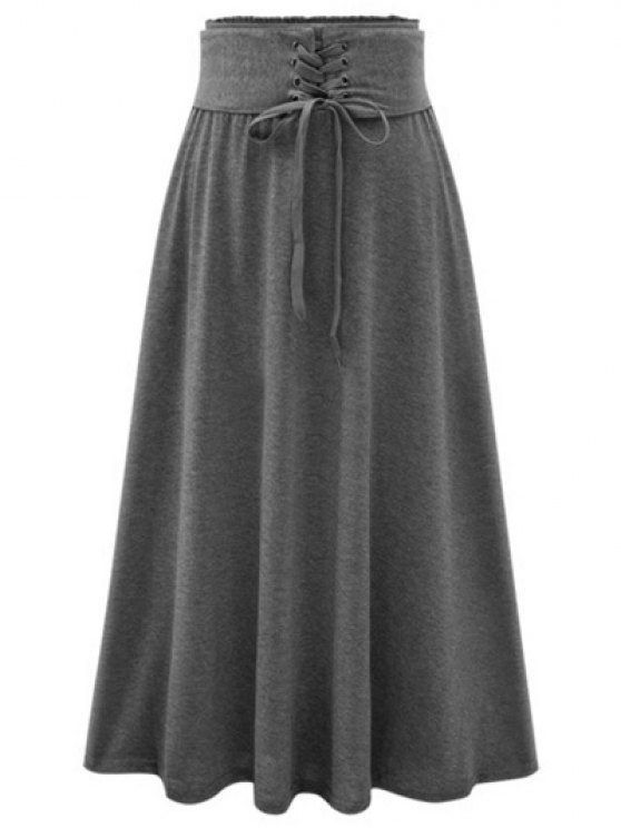 Solid Color Lace-Up High Waist A-Line Skirt DEEP GRAY: Skirts ONE ...
