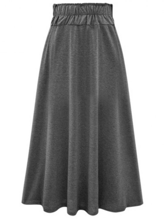 Solid Color Lace-Up High Waist A-Line Skirt - DEEP GRAY ONE SIZE(FIT SIZE XS TO M) Mobile