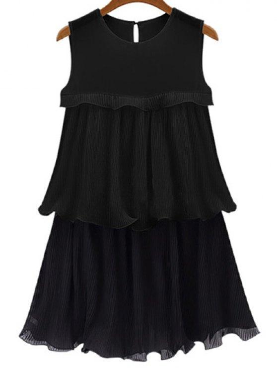 Negro del volante de las colmenas del cuello redondo vestido sin mangas - Negro 5XL