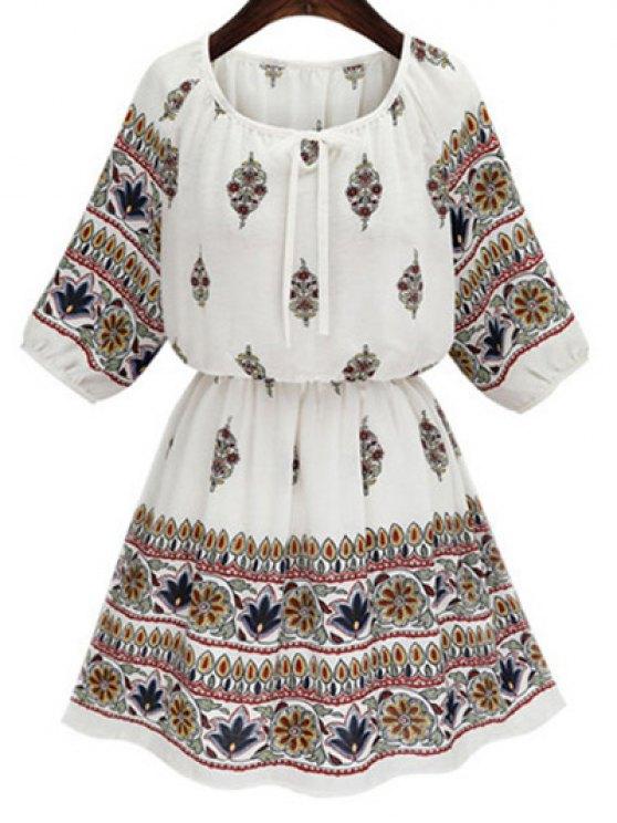 affordable Drawstring Printed Round Neck 3/4 Sleeve Dress - WHITE M