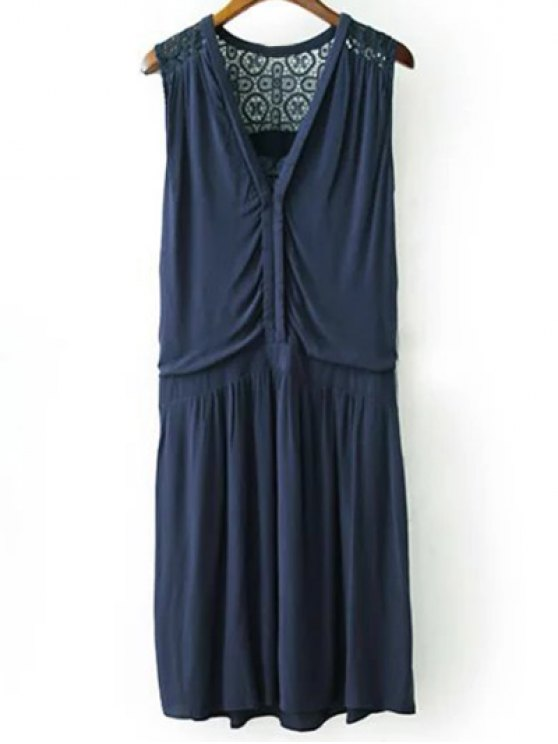 affordable Lace Splice Plunging Neck Sleeveless Dress - CADETBLUE L