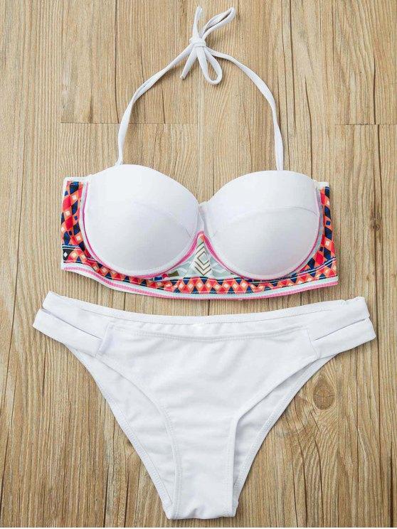 Modelo étnico sin tirantes del bikini Set - Blanco S