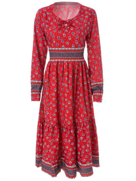 affordable Tiny Floral Print Long Sleeve Maxi Dress - DARK RED M