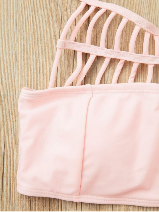 Pink Halter Hollow Out Bathing Suit - PINK L Mobile