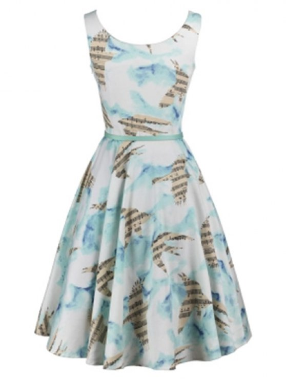 trendy Music Note Skater Dress - COLORMIX L