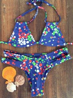 Colorful Polka Dot Halter Bikini Set - Blue S