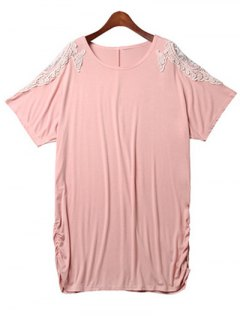 Loose Lace Spliced Round Neck Bat-Wing Sleeve Dress - Pink 2xl