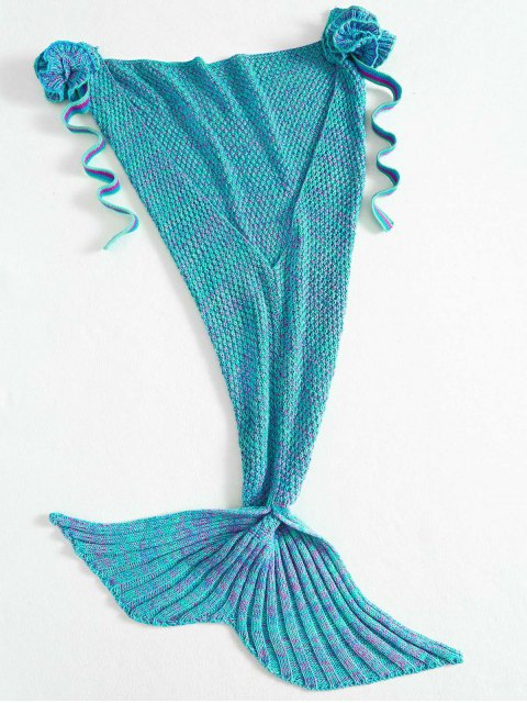 fashion Knitted Floral Mermaid Tail Blanket - GREEN  Mobile