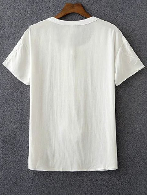 online Embroidery White Round Neck Short Sleeve T-Shirt - WHITE L Mobile
