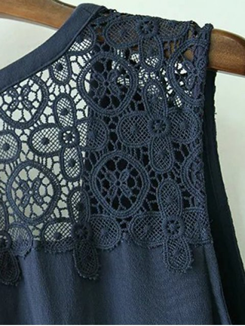 buy Lace Splice Plunging Neck Sleeveless Dress - CADETBLUE M Mobile